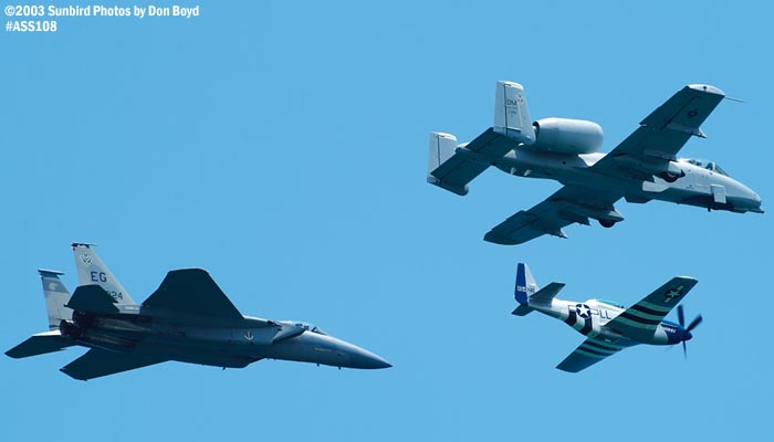 USAF Heritage Flight P-51D Crazy Horse, USAF A-10A and F-15C military heritage military aviation air show stock photo #4461