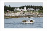 Lobster boat near Pemaquid Light (Maine Lighthouse)