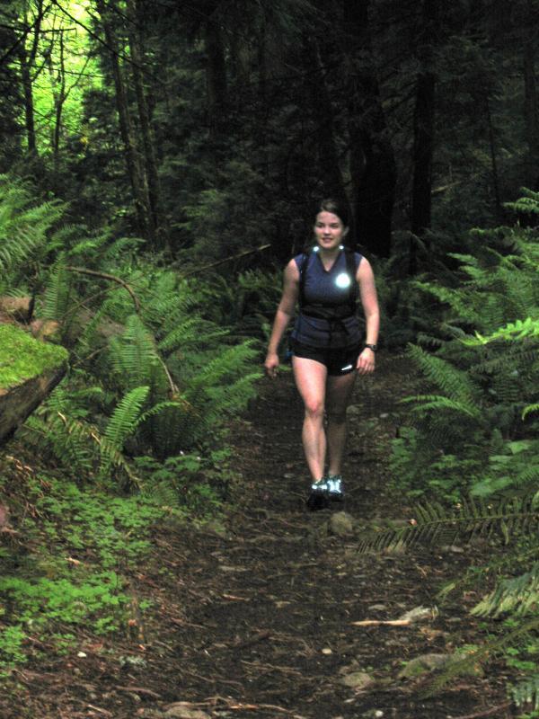 Deb climbing Poo Poo Point Trail