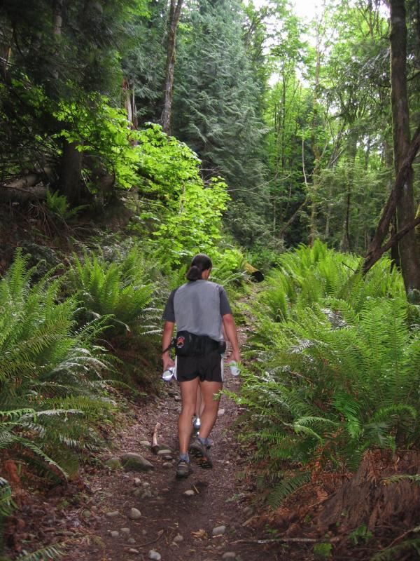 Tony climbing Poo Poo Point Trail