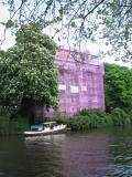 The lilac colour is protective netting used during refurbishment.