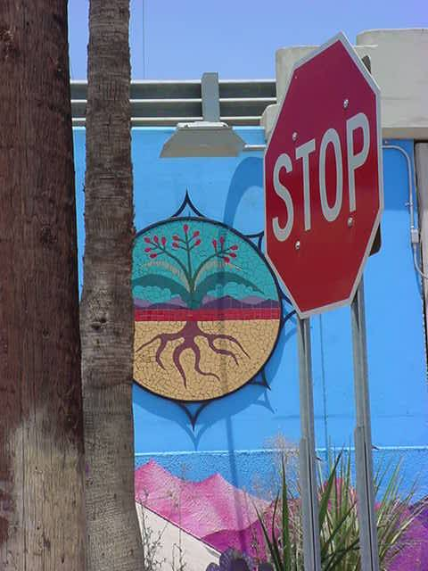 art and graffiti <br>and STOP sign