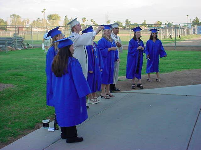 getting ready at graduation 2003