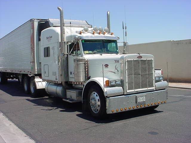 beautiful white big rig at Mesa Storage