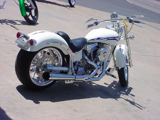 beautiful white custom motorcycle