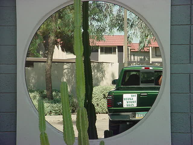 the green truck reflection<br>at Tempe camera