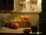 Sheryl's front porch fall decorations, Halloween night.