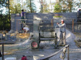 Mixing cement on day two
