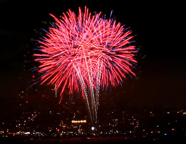 Fireworks over Ghirardelli Square
