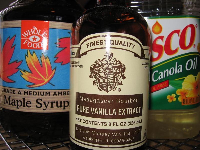 Maple syrup, vanilla & canola oil