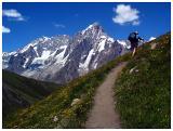 Italian (TMB) -- Kathy on ascent to Teta de la Tronche