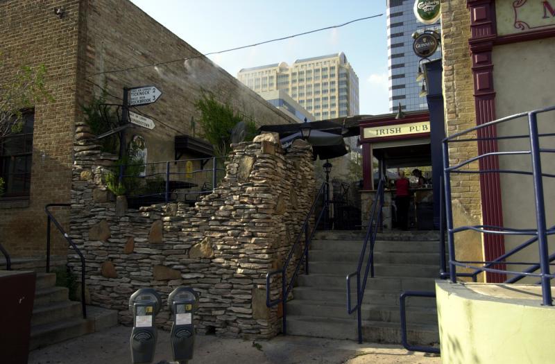 Streetside patio of Fado in downtown Austin, Texas