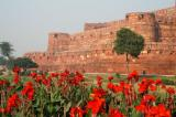 Agra Fort massive red stone walls are 20m high