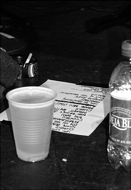 Song List, Drinks and Smokes