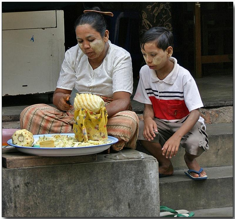 Learning the trade - Pineapple carving in Yangon