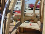 burlap, wood, neon tube
