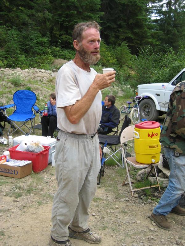 Thru-hiker enjoying the food