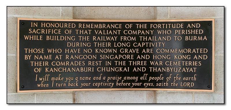 Plaque in Kanchanaburi Cemetery