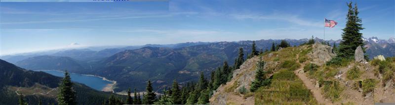 Thorp Mt Panorama, Mt Rainier Distant Mile 86
