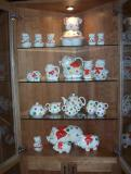 One of my favorite collections. Vintage American Bisque Polka Dot Piggies, the matching tea set was a real find. They are so bright and cheerful, you can't help smiling when you look at them.