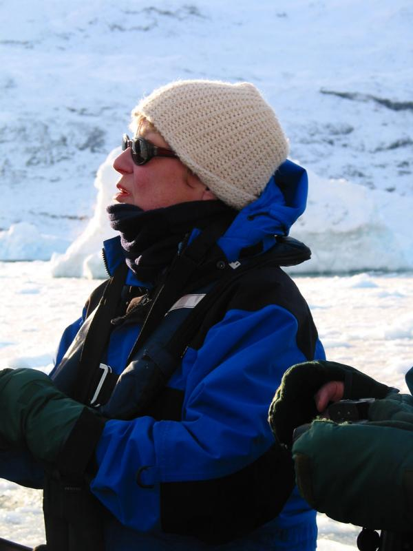 Peggy looking at the Ice Tower