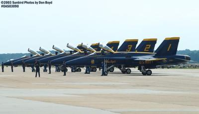 USN Blue Angels F/A-18 Hornets military aviation air show stock photo #6943