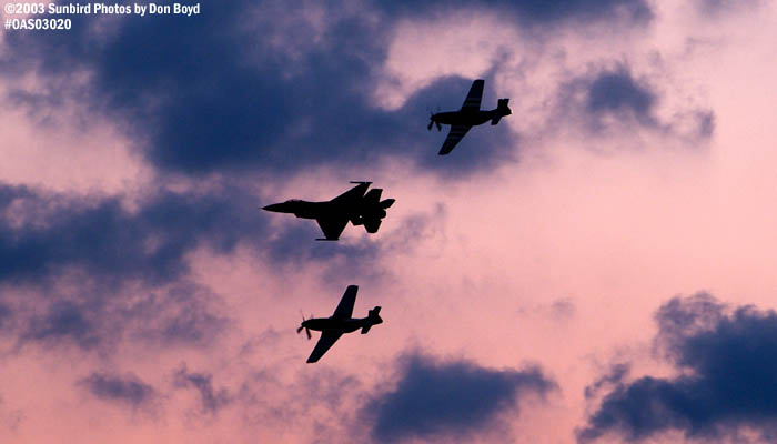 USAF Heritage Flight of F-16, TF-51 Mustang Crazy Horse and P-51D-25NT Excalibur sunset aviation stock photo #6753