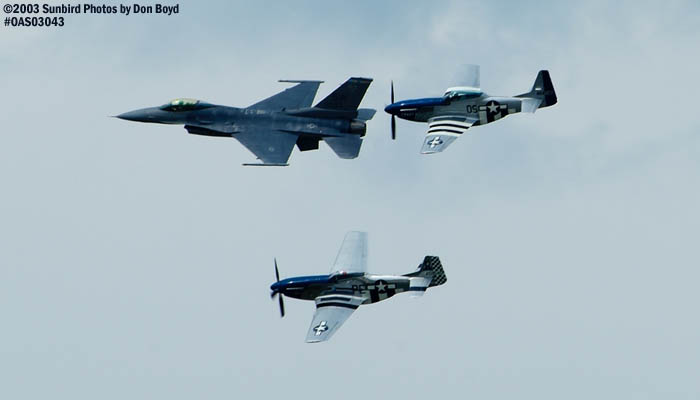 USAF Heritage Flight with F-16, TF -51 Mustang Crazy Horse and P-51D-25NT Excalibur aviation air show stock photo #6814