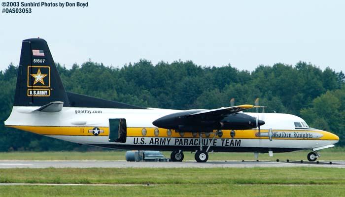 U. S. Army Parachute Team Fokker Friendship C-31A #51607 military aviation air show stock photo #6835