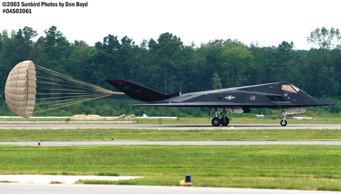 USAF F-117A Nighthawk Stealth Fighter AF84-826 military aviation air show stock photo #6862