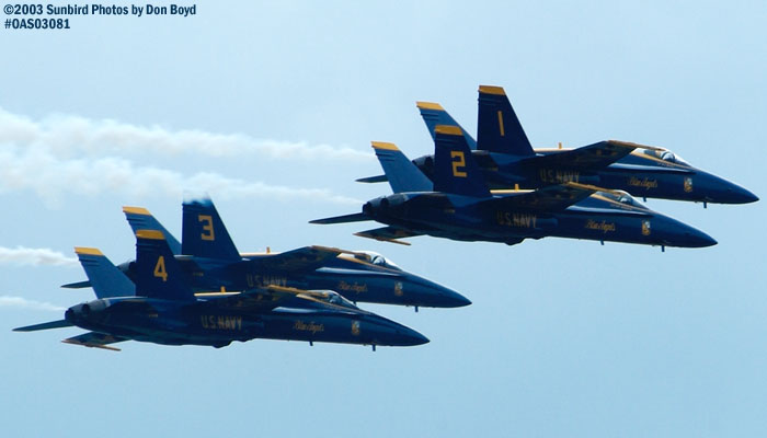 USN Blue Angels F/A-18 Hornets military aviation air show stock photo #6918