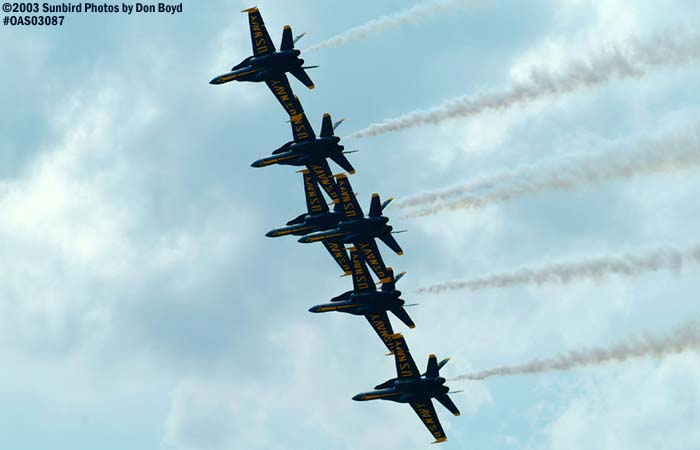 USN Blue Angels F/A-18 Hornets military aviation air show stock photo #6932