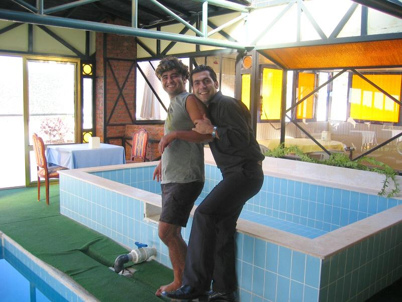 Pretending to shove Abdullah into the pool