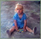 girl with chalk sad