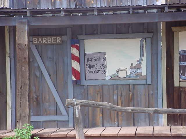 barber shop from outside Jakes Corner Arizona