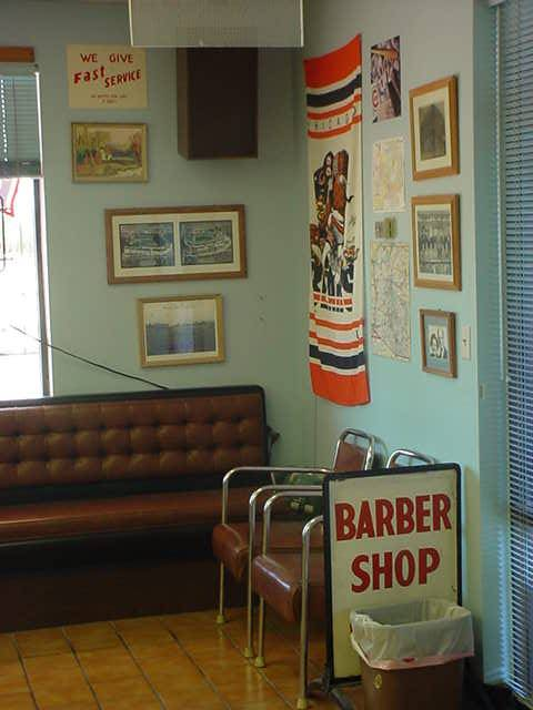 the reading area at Bills barber shop