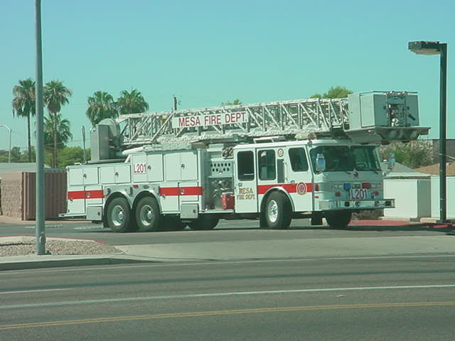 a big red firetruck<br> in Mesa Arizona