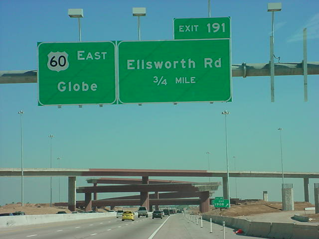 looking east on <br> US 60 at Ellsworth Road