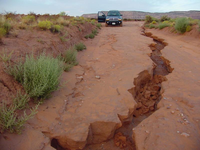 Flood damage on Valley of the Gods road