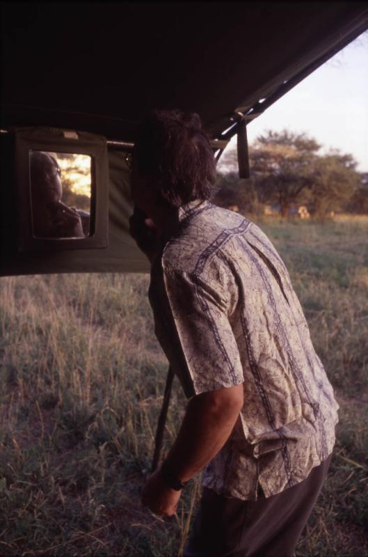 Peter shaving: first morning in Serengeti.