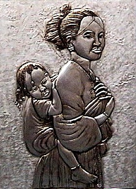 Woman with the coffee baby aluminum 38x28.5cm.