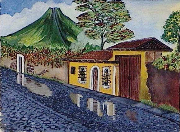 Antique citty of Guatemala tempera( carta)37.5x28 cm.