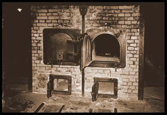 Birkenaus double-muzzle brick cremation ovens in Crematorium-I.  (Photo by Zé Paulo)