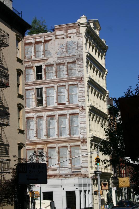 Prince Street near  Greene Street Corner - Mural of Cast Iron Building