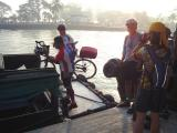 Loading bikes into a bumboat - Changi Point