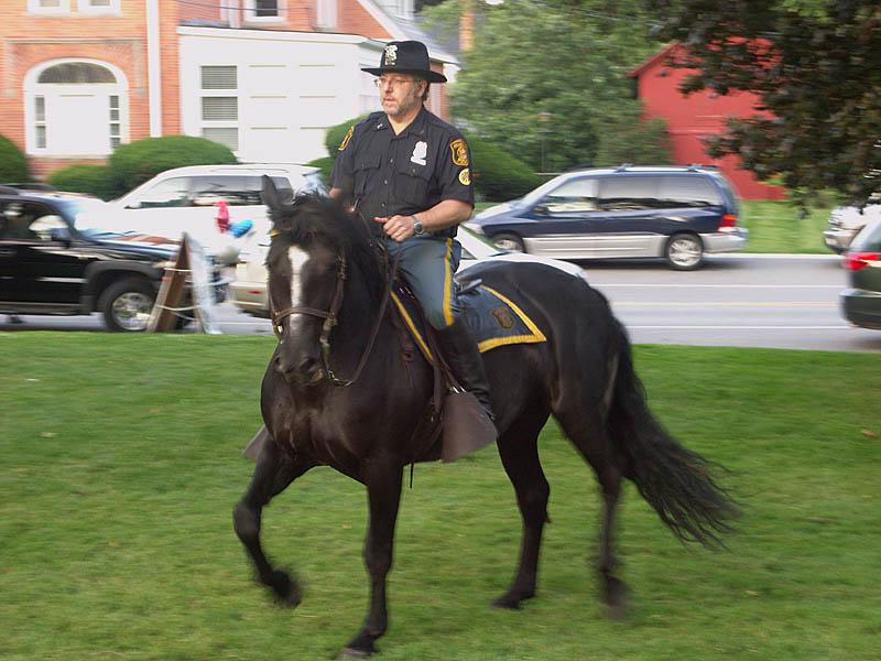Equestrian police sidestep