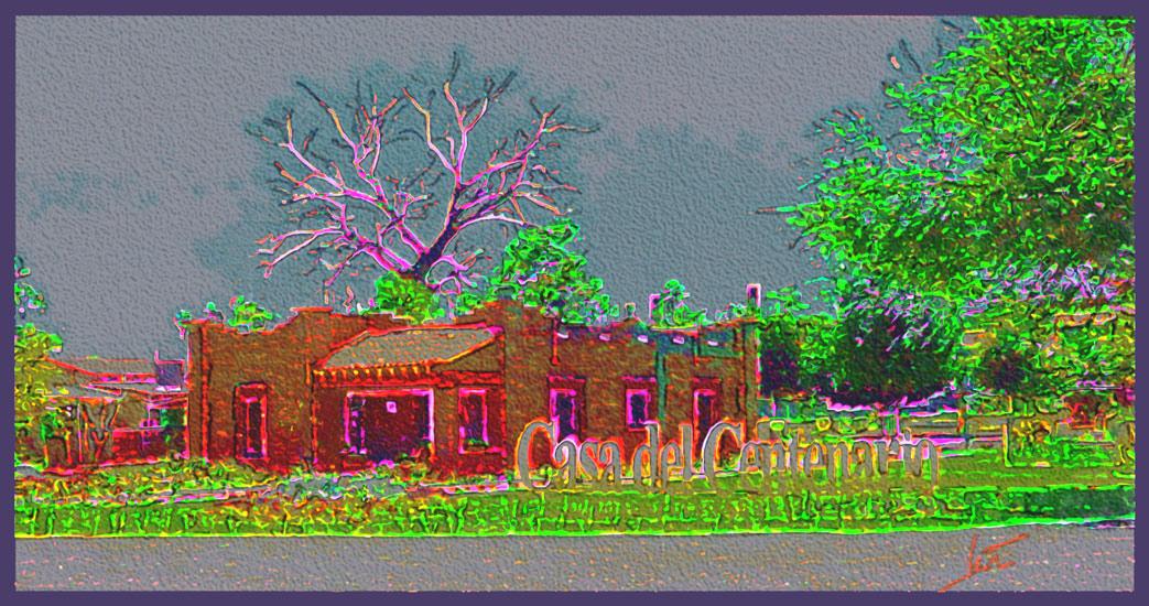 Brick House with Neon Edges