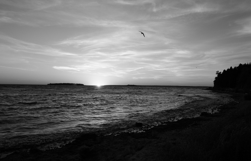 sunset in black and white at fish creek