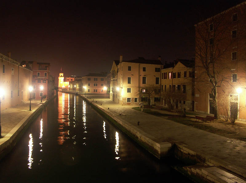 Arsenale Canal in Venice at night