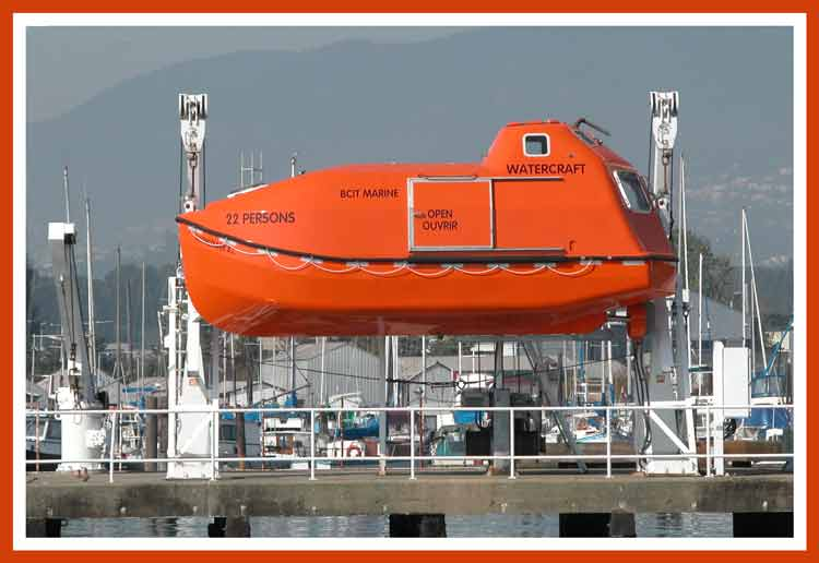 Modern self righting, enclosed lifeboat.